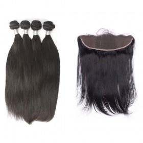4 Bundles Human Virgin Malaysian Remy Hair With 13x4 Lace Closure Straight