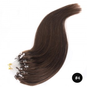 Mirco Loop Straight #4 Chocolate Brown Human Remy Hair Extensions