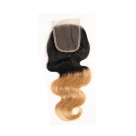 7A Human Remy 4x4 Lace Closure Body Wave Ombre #1B/27 Brazilian Hair