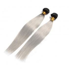 2 Bundle Ombre Straight Brazilian Human Hair Weave 1B/Grey
